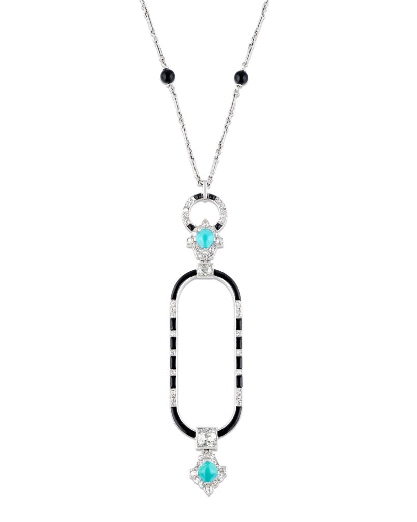 Turquoise, Diamond and Lacquer Necklace by Cartier
