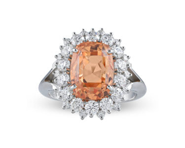 The unique color of the padparadscah is perfectly showcased in this 7.83-carat ring