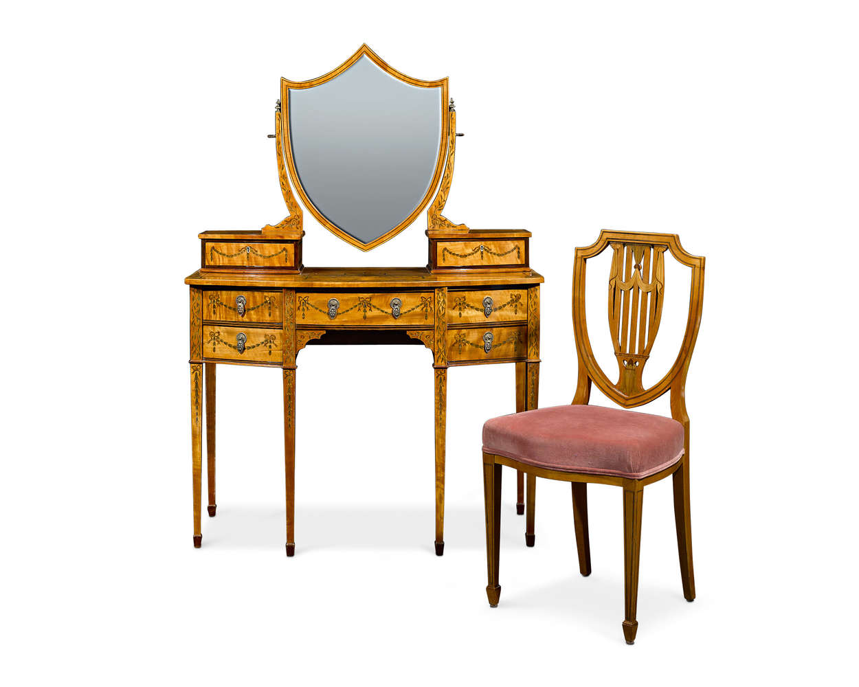 Sheraton Revival Satinwood Dressing Table and Chair. Late 19th century.