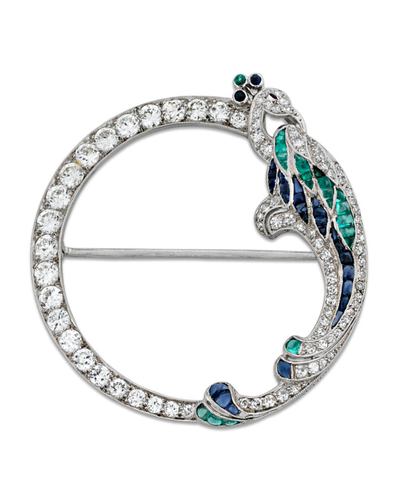 "Emerald, Sapphire & Diamond Peacock Brooch by Cartier Signed ""Cartier"""