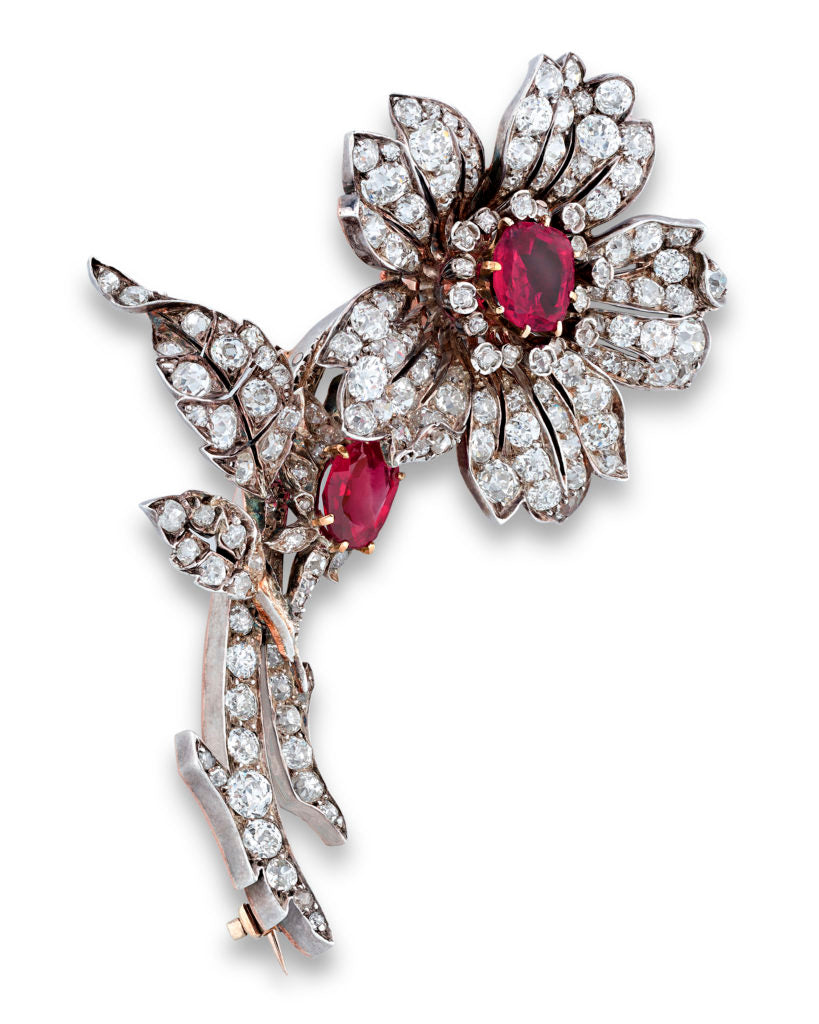 Burma Ruby and Diamond En Tremblant Brooch, Circa 1865