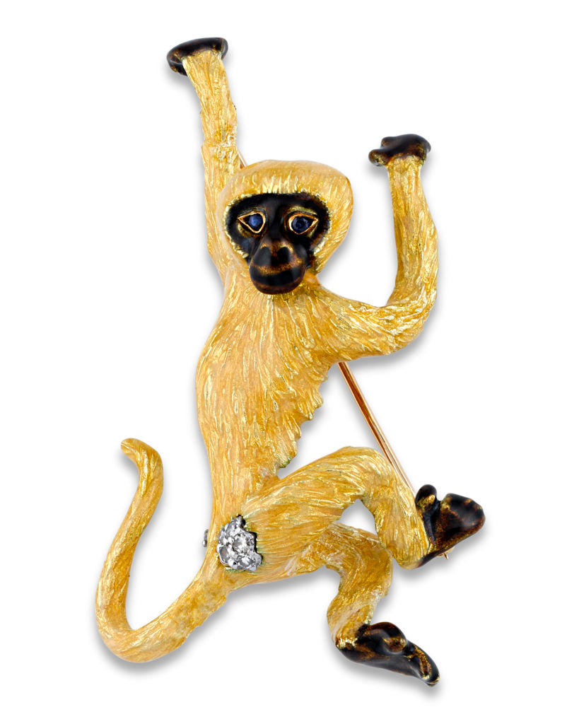 "18K Gold, Enamel, Diamond & Sapphire Monkey Brooch by Tiffany & Co. Marked ""TIFFANY & CO. 18K"""