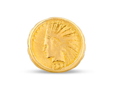 Crafted of yellow gold, the ring features a rare $10 Indian Head coin at its center