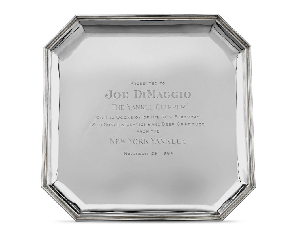 This tray was given to DiMaggio by the New York Yankees on the occasion of his 70th birthday.