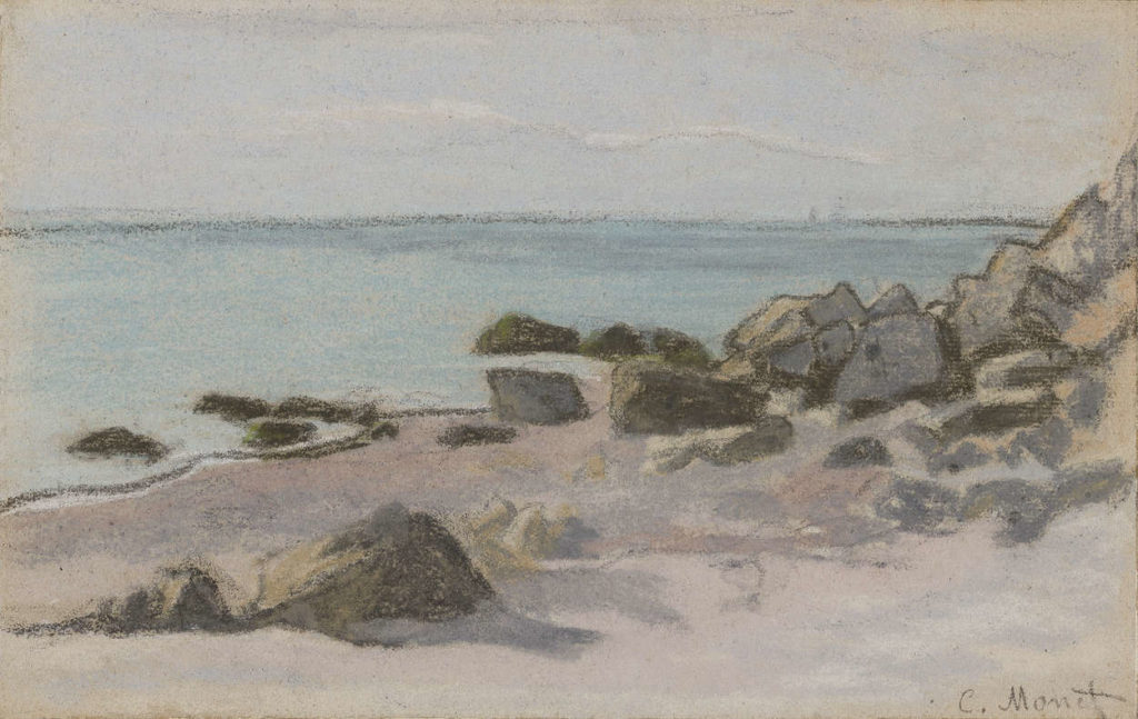 Bord de Mer by Claude Monet, pastel on paper, 1865