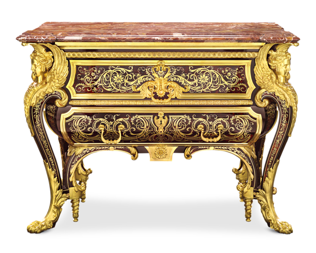 This commode is based on an original by Boulle that graced the halls of Versailles during Louis XIV's reign. Embodying the ethos of Baroque design, its unsurpassed level of detail and awe-inspiring opulence was intended to dominate and impress.