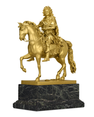 The 18th century also brought with it a taste for functional and decorative objects such as chandeliers, mirrors, and statuettes. This opulent depiction of Louis XIV as a Roman hero is a perfect example of the luxurious design and materials of the period. The gilt bronze sculpture is a reduction of a version that was originally erected in the Place Louis-le-Grand (now called the Place Vêndome), but the statue was destroyed during the Revolution in 1792 to be melted down for making cannons.