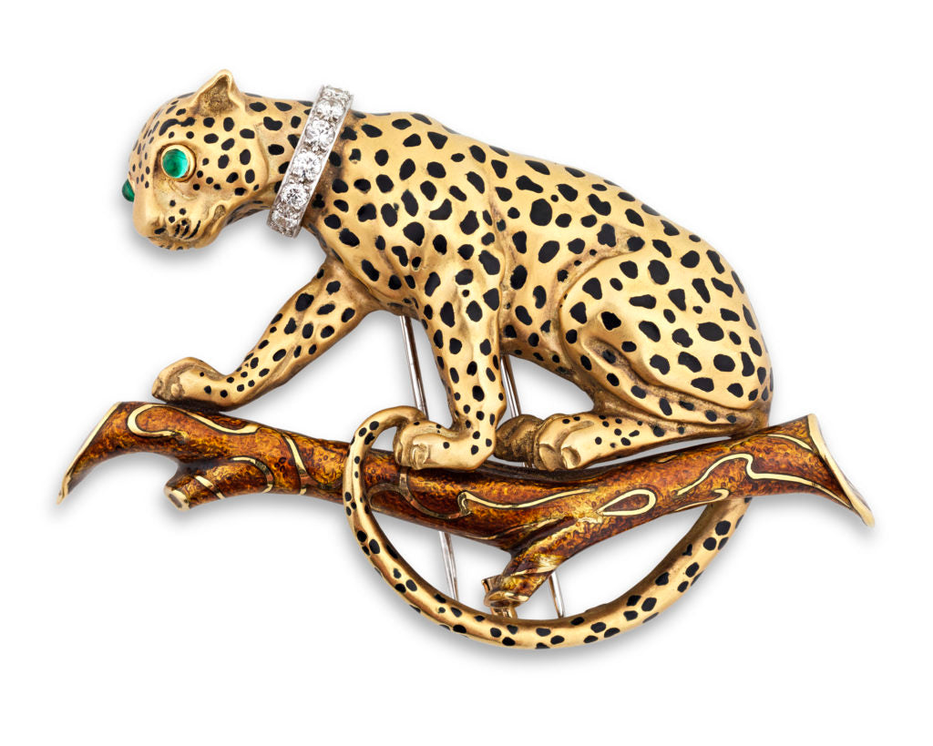 "18K Gold, Enamel, Emerald & Diamond Brooch by David Webb Marked ""WEBB / 900 PLATINUM 18K"""