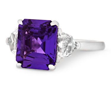 A 4.10-carat purple sapphire that displays a remarkably deep tone and vivid saturation