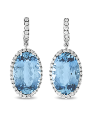 These aquamarine earrings are 23.42 carats of crystal clear ocean blue, but make sure you take them off before going for a dip!