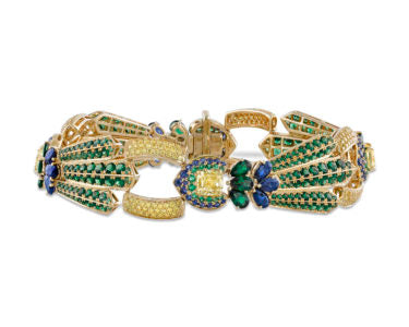 Yellow Diamond, Sapphire, and Tsavorite Garnet Peacock Bracelet