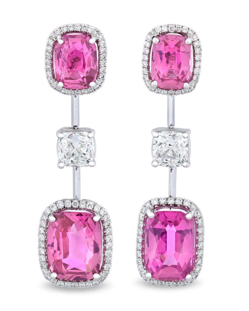 Pink Sapphire drop earrings that display a vivid, highly saturated color