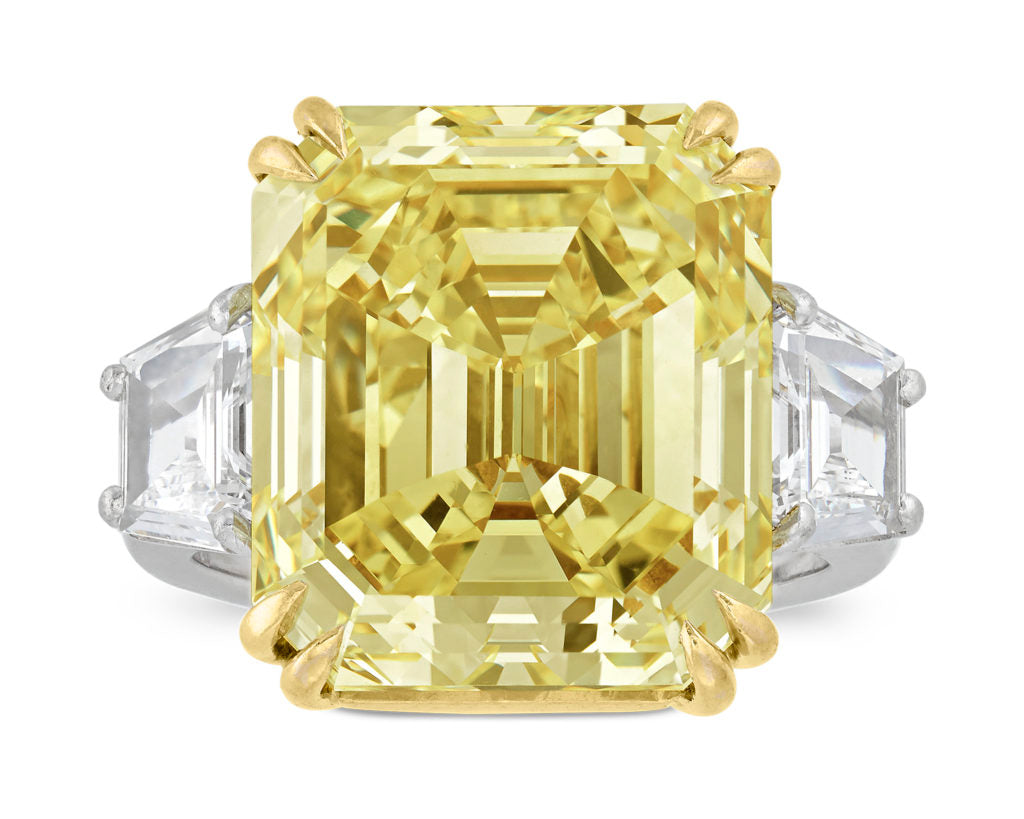 This 16.57-carat fancy yellow diamond is certified with an excellent Internally Flawless clarity grade