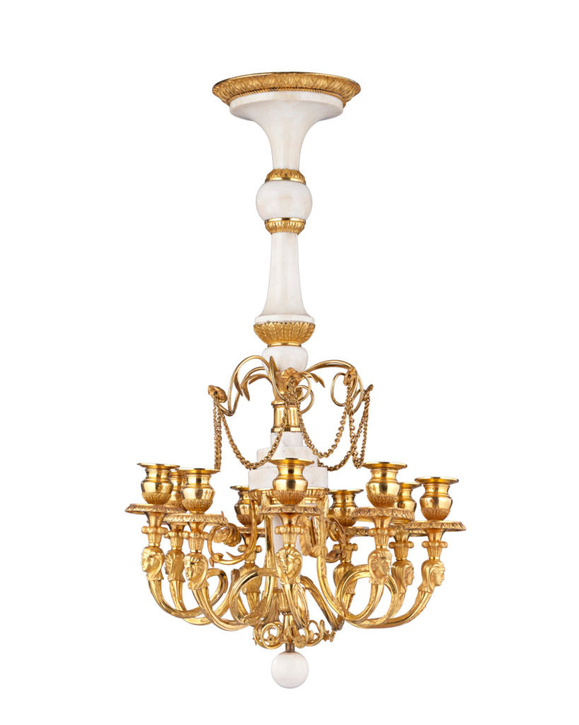 White Marble and Gilt Bronze Russian Chandelier