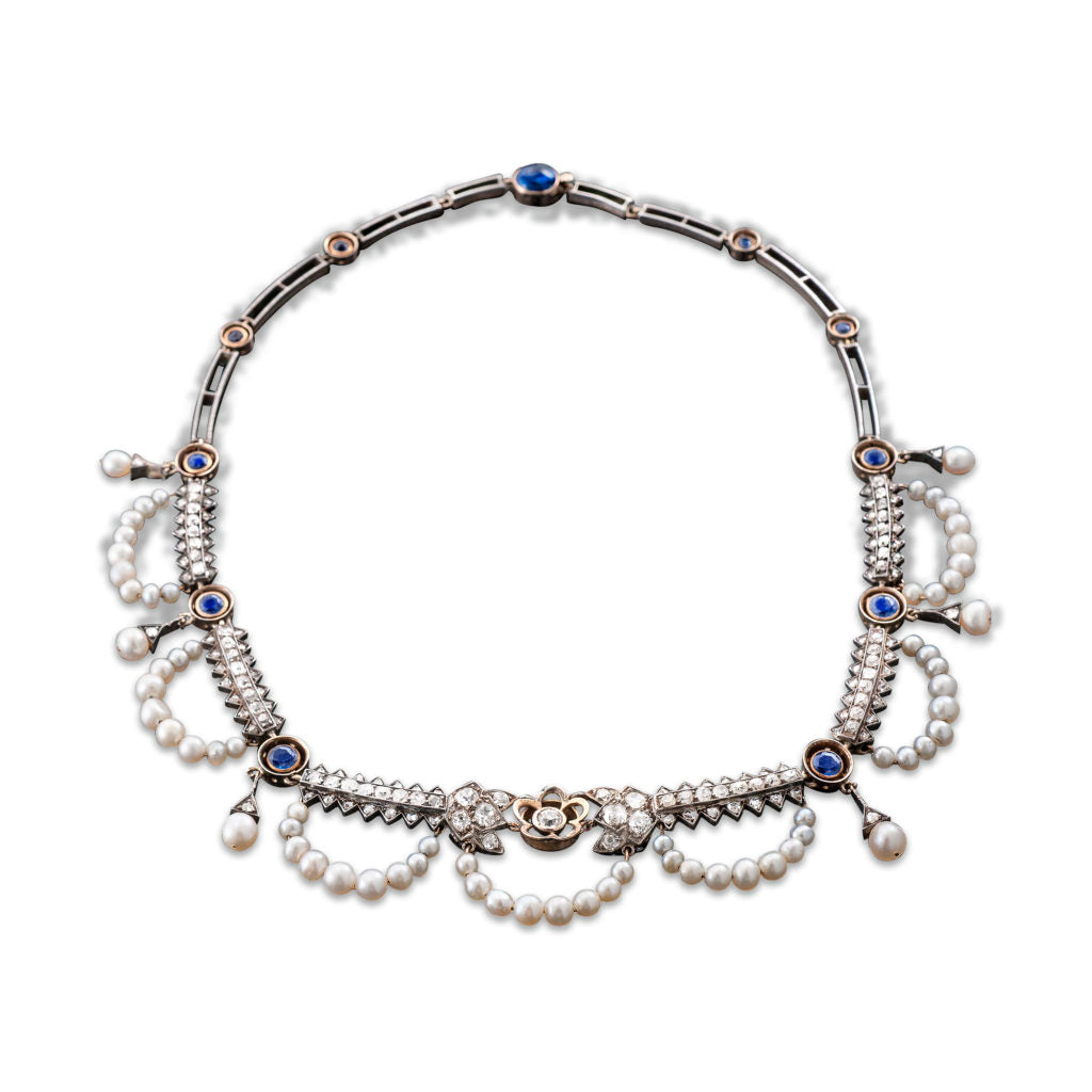 Victorian Saltwater Pearl and Diamond Necklace