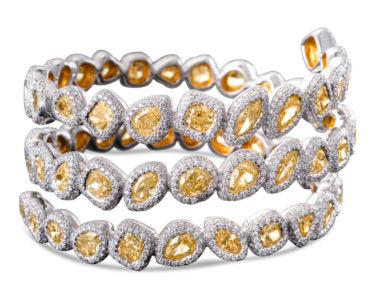 Yellow and White Diamond Wrap-Around Cuff
