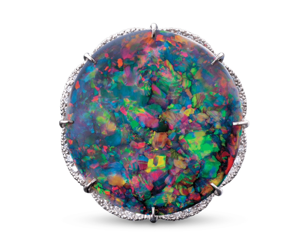 This Lightning Ridge black opal displays an impressive range of iridescent color