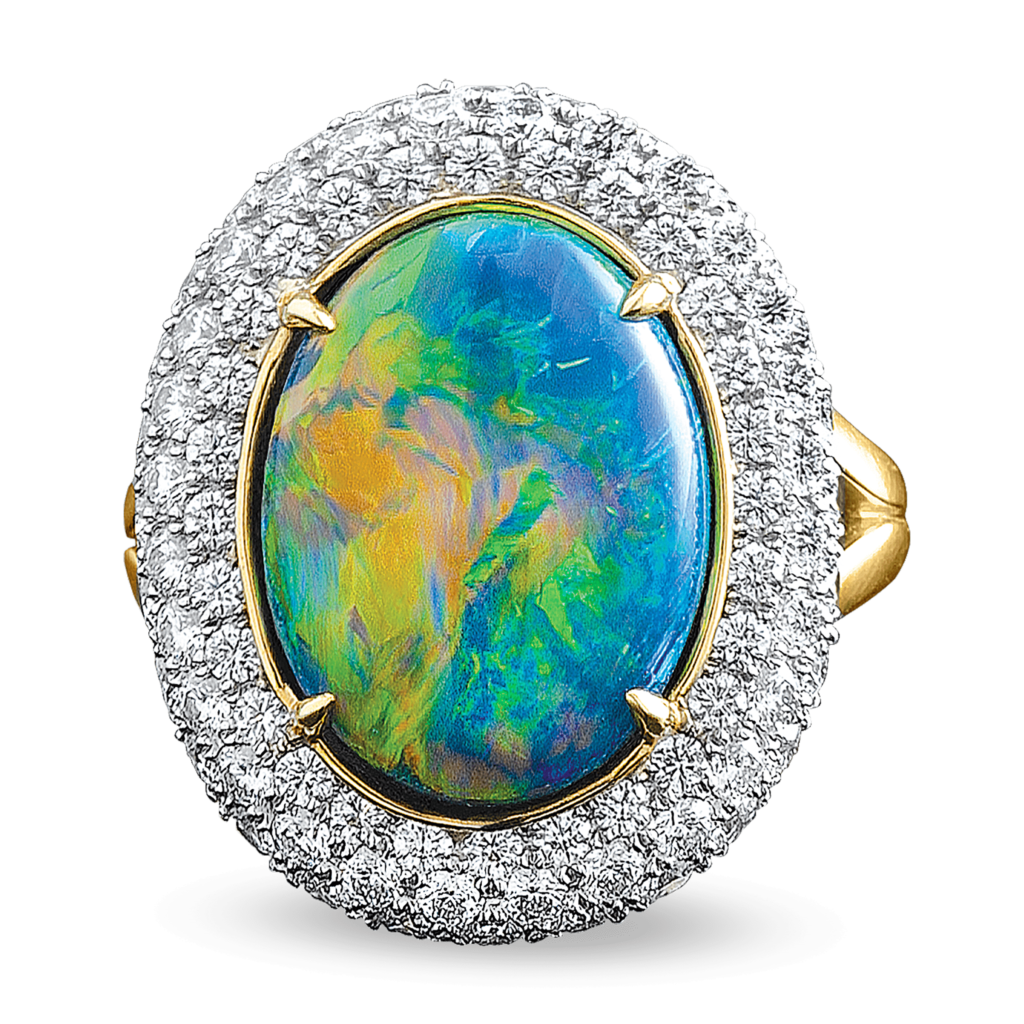 This 7.71-carat black opal in this ring displays an incredible play of color