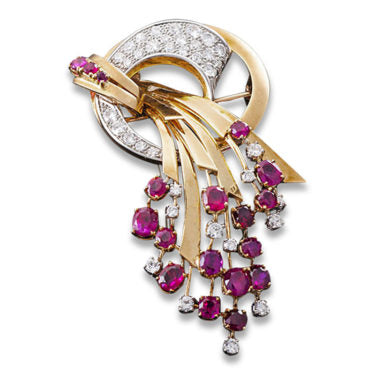18K Gold, Burma Ruby & Diamond Spray Brooch