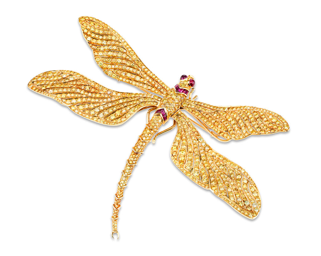 A Fancy Vivid Yellow Dragonfly Brooch featuring 60.26-carats worth of FVY diamonds