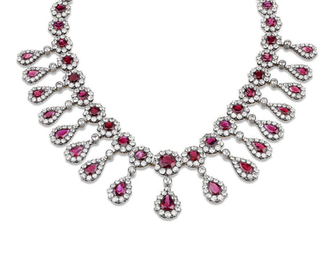 Antique Burma Ruby and Diamond Necklace