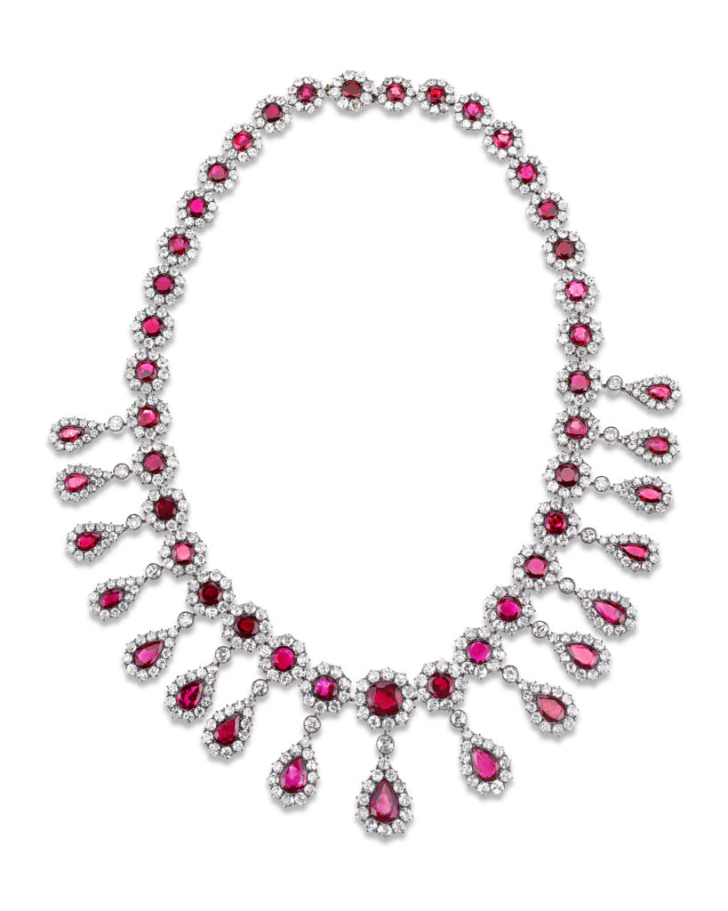 A ruby and diamond Victorian-period necklace