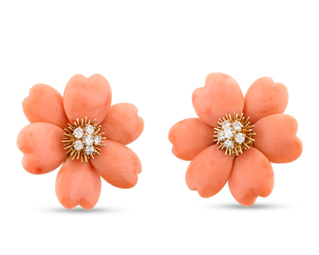 Van Cleef & Arpels Coral and Diamond Earrings