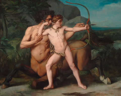 The Education of Achilles by the Centaur Chiron by Auguste-Clément Chrétien, dated 1861