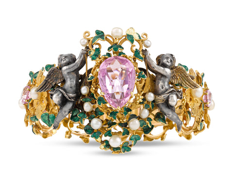 Jeweled Cupid Bracelet by Froment-Meurice featuring Pink Topaz Accents