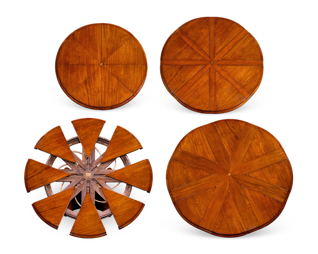 Brilliantly engineered, this Jupe expanding round table was created by the firm of Johnstone, Jupe & Co., circa 1835. This particular model has the ability to expand from roughly 54-inches to a larger 72-inch diameter. With a simple turn, this round table doubles its seating capacity from 6 guests to 12!