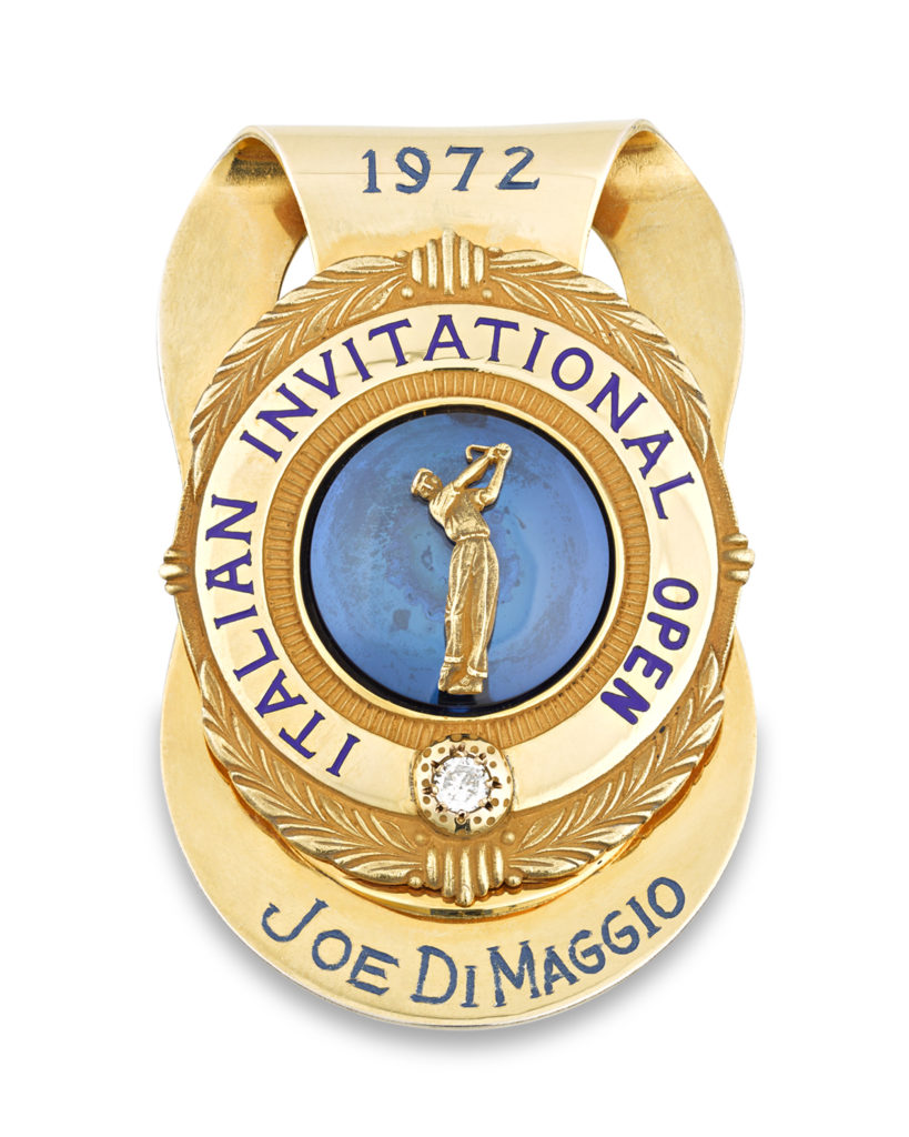 DiMaggio received this money clip as a token of thanks for his participation in the National Italian Invitational Open charity golf tournament in 1967