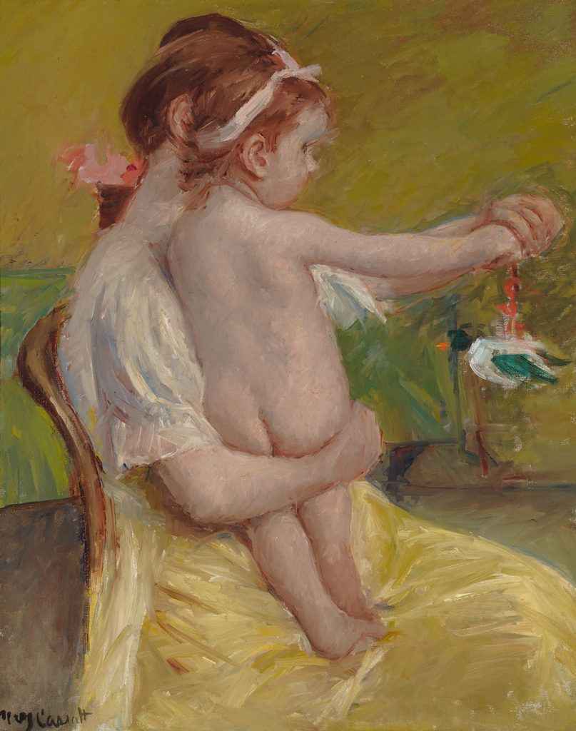 Mother Holding a Baby Playing with a Toy Duck by Mary Cassatt