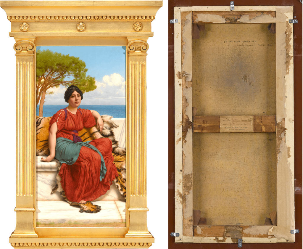 By The Blue Ionian Sea By John William Godward. Dated 1916