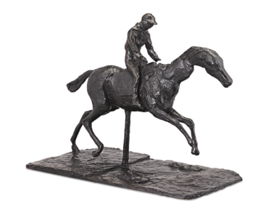 Capture the thrill of the races with this bronze jockey sculpture by Edgar Degas