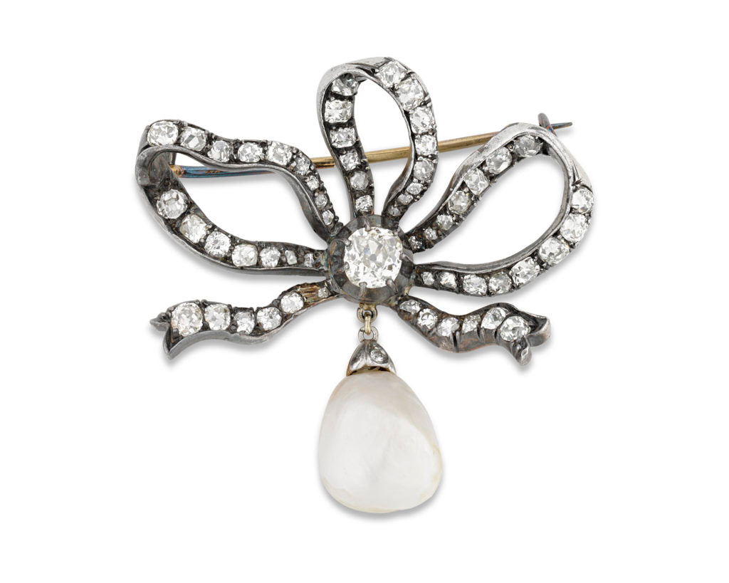 Victorian Diamond and Pearl Bow Brooch