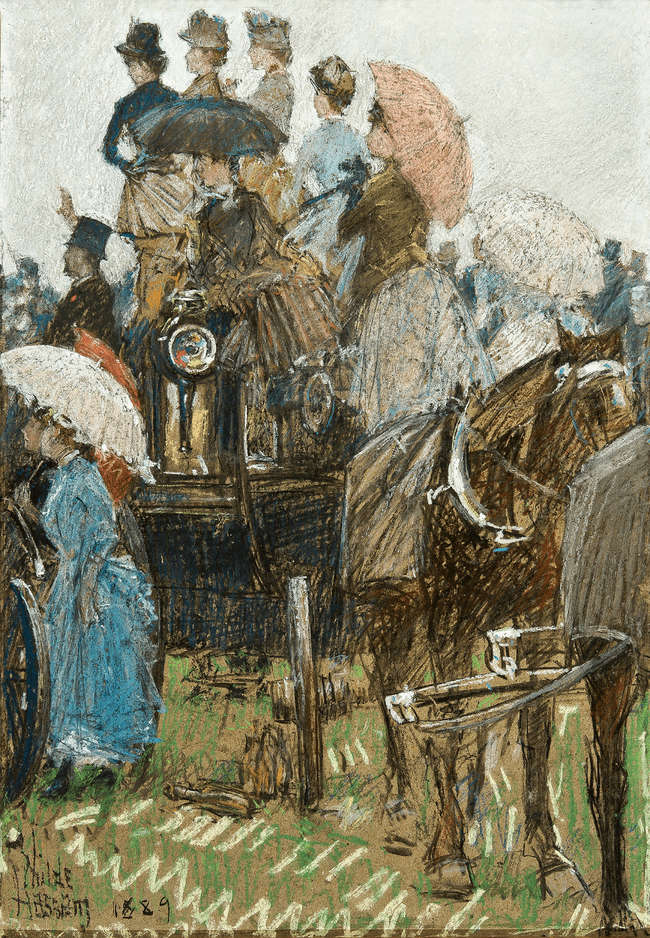 Four-in-Hand at the Grand Prix by Childe Hassam