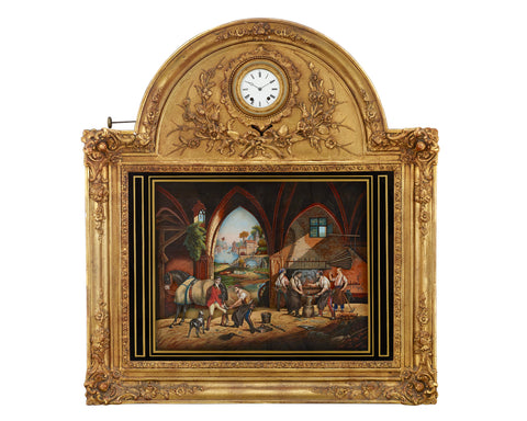 French Musical Automaton Picture Clock. Circa 1880 (M.S. Rau, New Orleans)