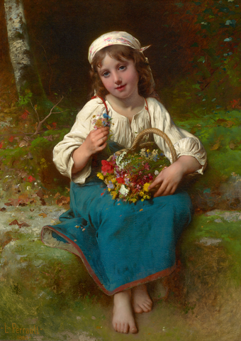 Young Girl with a Basket of Flowers by Léon-Jean-Basile Perrault, circa 1880