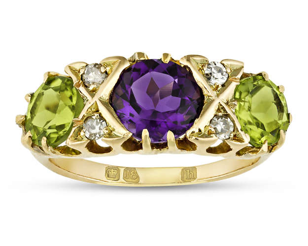 Amethyst and Peridot Suffragette Ring, Circa 1910