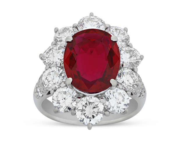 Burmese Ruby and Diamond Ring, 5.20 Carats