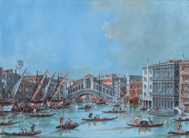 View of the Ponte di Rialto by Giacomo Guardi. Gouache on paper.