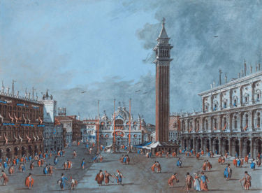 View of Piazza San Marco by Giacomo Guardi. Gouache on paper.