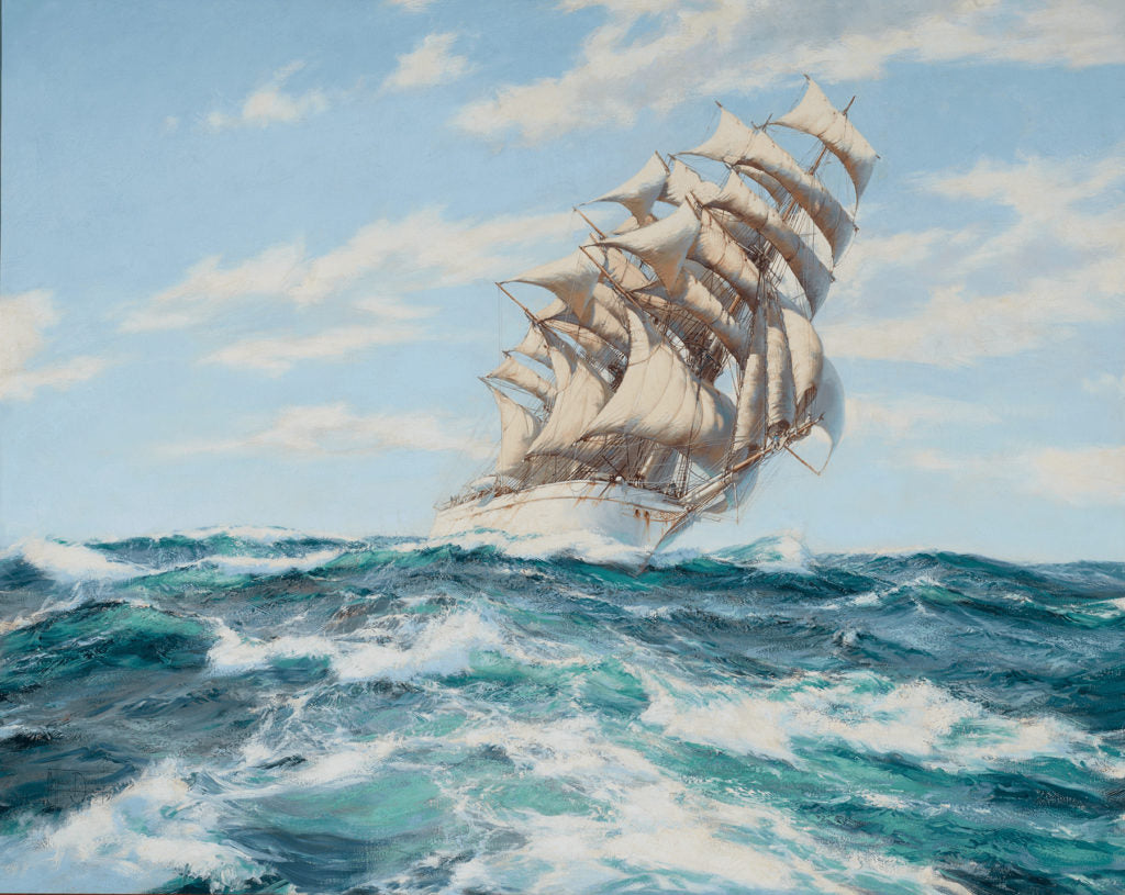 Pounding the Waves by Montague Dawson