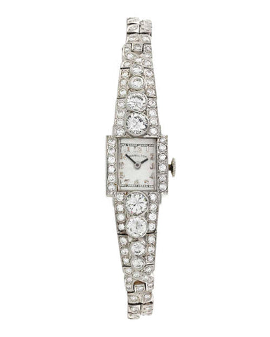 Art Deco-Era Diamond and Iridium Platinum Wristwatch