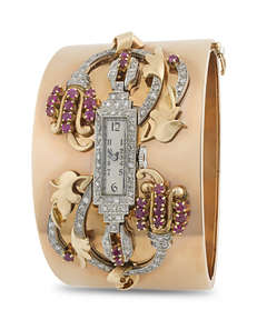 14K Rose Gold, Ruby and Diamond Watch Bangle