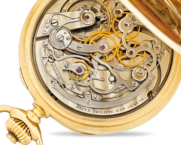 The inner workings of a Patek Philippe chronograph pocket watch