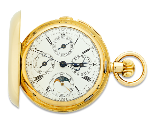 Minute repeating chronograph pocket watch by A. Lugrin, circa 1890