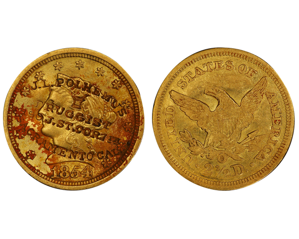 1854-O Liberty Head Quarter Eagle $2.50 Gold Coin from the New Orleans Mint