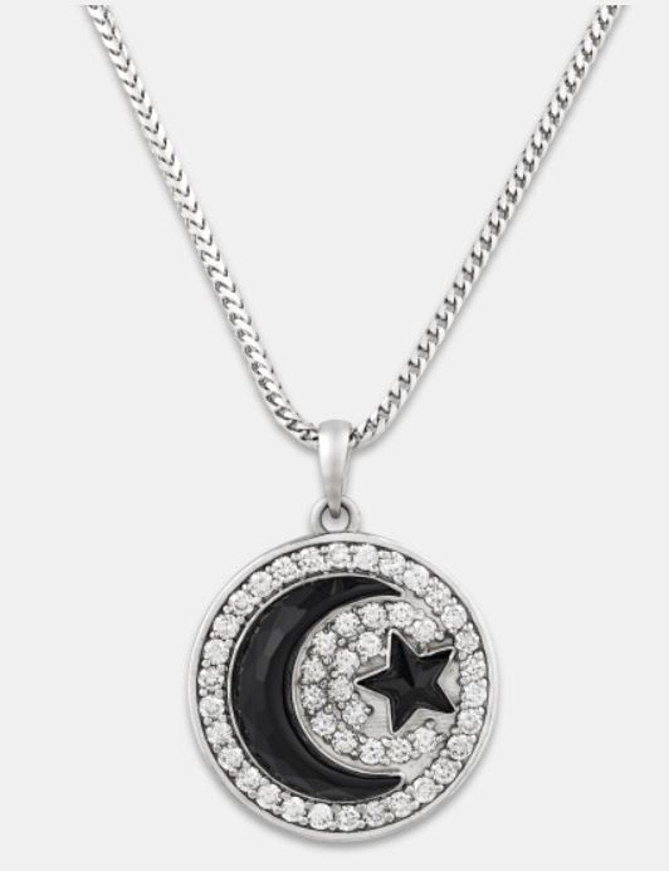 This onyx crescent moon and star pendant, in 14-carat gold with 2.88 carats of diamonds, is going for US$44,500. Photo: Handout