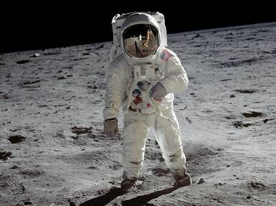 Neil Armstrong's photograph of Buzz Aldrin on the lunar surface. We can see Armstrong's reflection in Aldrin's visor. | NASA